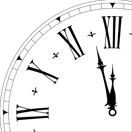 clock hands: detailed illustration of an old clock face showing 3minutes to twelve