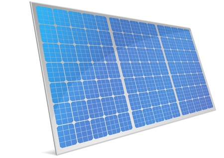 illustration of a panel with solar cells and reflection Vector