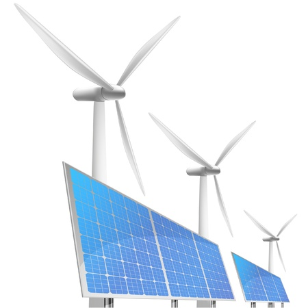 solar electric: illustration of panels with solar cells and reflection and wind generators in behind