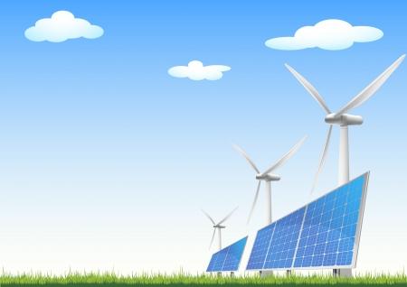 illustratie van panelen met zonnecellen en windmolens op een groen veld met blauwe hemel