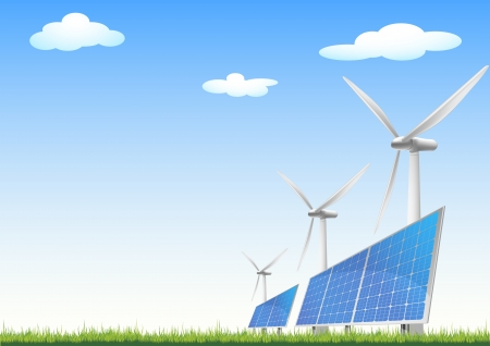 panels: illustration of panels with solar cells and wind generators on a green field with blue sky