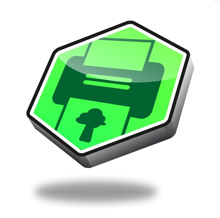 green print button with perspective photo