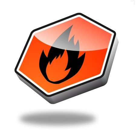 orange fire button with perspective photo