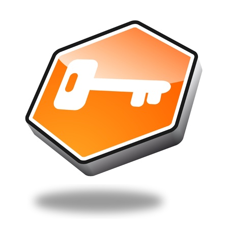 orange key button with perspective, symbol for security photo
