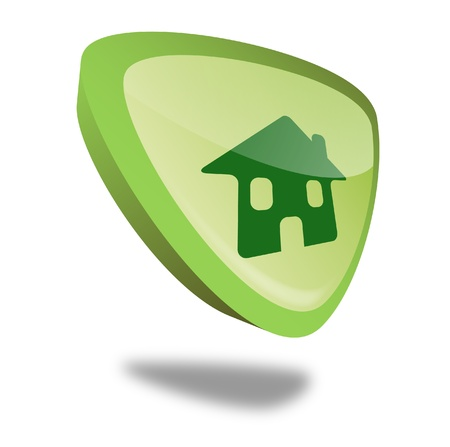 safe house: green home button with perspective