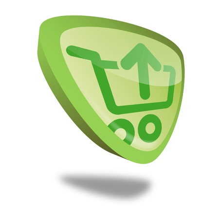 checkout button: green shopping cart button with perspective Stock Photo