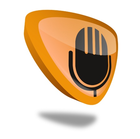 orange microphone button with perspective, symbol for audio and recording Stock Photo - 10269511