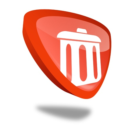 red trash can button with perspective Stock Photo - 10269510