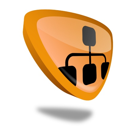 orange network button with perspective Stock Photo - 10269507