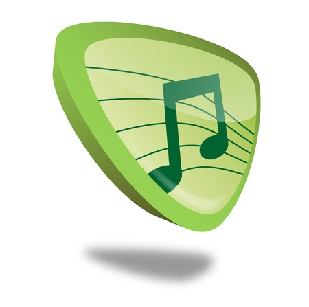 green music button with perspective, symbol for audio and sound Stock Photo - 10269515