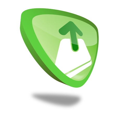 green upload button with perspective Stock Photo - 10269492