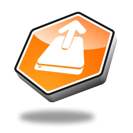 orange upload button with perspective photo