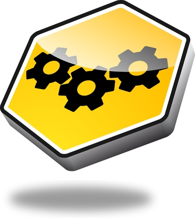 gear motion: yellow cogwheels button with perspective Stock Photo