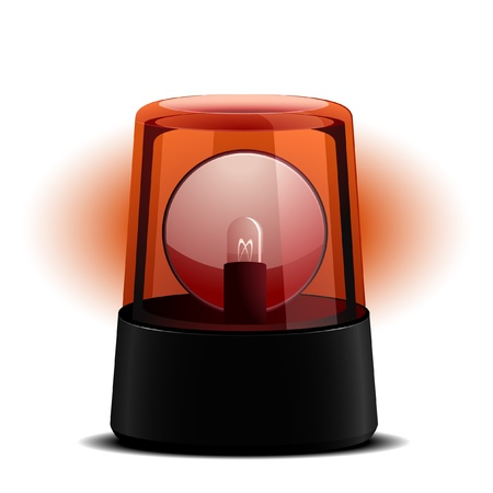 red siren: detailed illustration of a red flashing light, symbol for alert and emergency