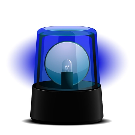 detailed illustration of a blue flashing light, symbol for alert and emergency Vector