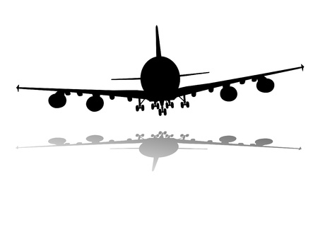 airplane landing: illustration of an airplane silhouette with shadow