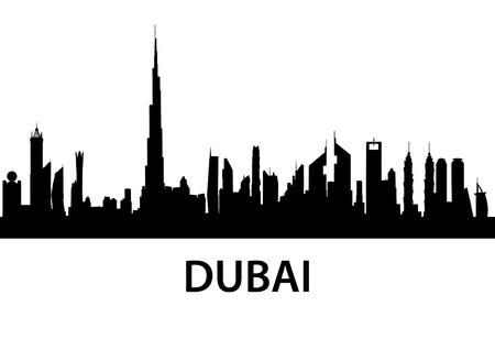 Ilustración detallada de la ciudad de Dubai, Emiratos Árabes Unidos