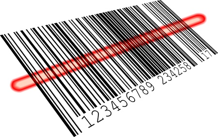 number code: illustration of a barcode with a red scanning bar, eps8 vector