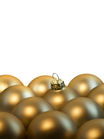 rows of golden christmas balls Stock Photo - 10930540