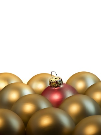 rows of golden christmas balls with a red one inside Stock Photo - 10930525