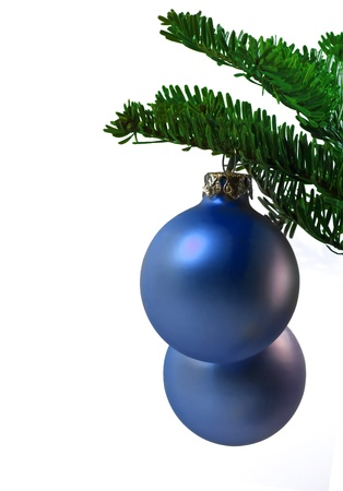 christmas balls hanging on a branch Stock Photo - 10930556