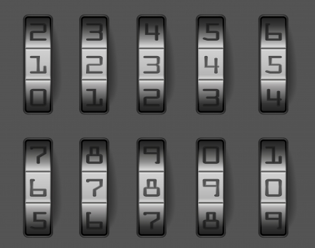 combination: illustration of a combination lock with different numbers, eps 8 vector