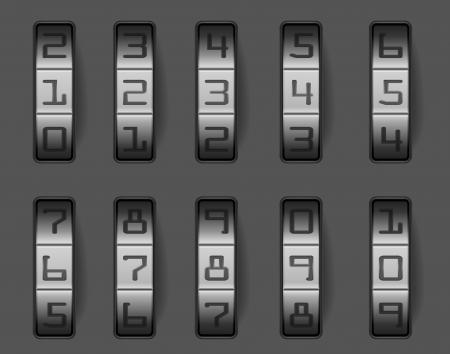 cajas fuertes: ilustraci�n de una cerradura de combinaci�n con diferentes n�meros, eps 8 vector