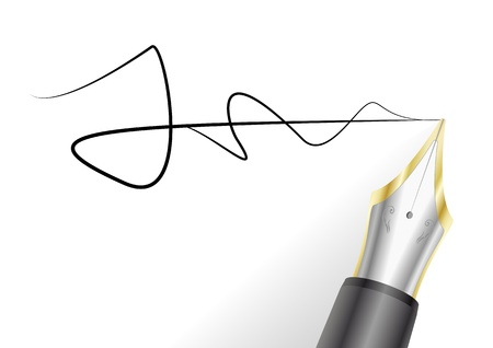 illustration of a fountain pen with signature Vector