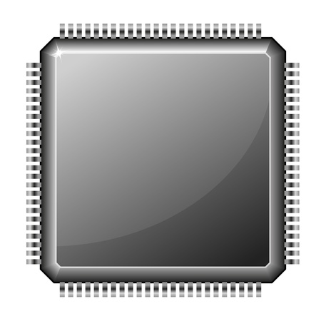 integrated: illustration of a microchip cpu isolated on white background