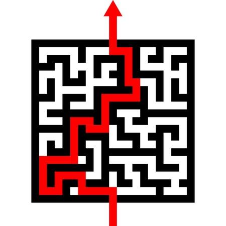 completato: freccia rossa passare attraverso il labirinto. percorso attraverso un labirinto, EPS 8 vector Vettoriali