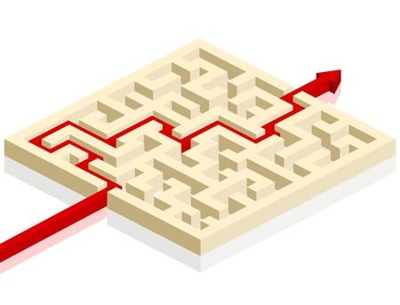 eps 8: red arrow going through the maze. path across a labyrinth, eps 8 vector Illustration