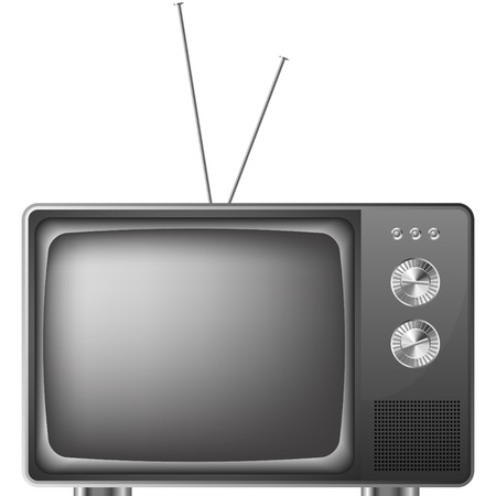 detailed illustration of an old television with antenna Vector