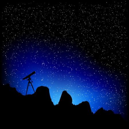 cielo estrellado: ilustraci�n detallada de un telescopio con un cielo estrellado Vectores