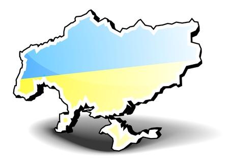 3d shape: 3D illustration of Ukraine with flag, eps8 vector