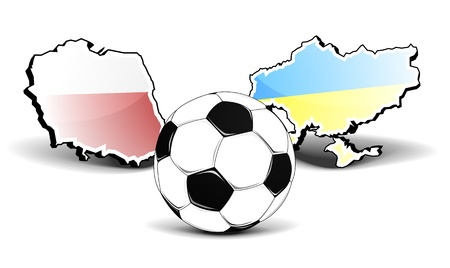 maps of poland and ukraine with a football in front, european football championship 2012, eps8 vector Vector
