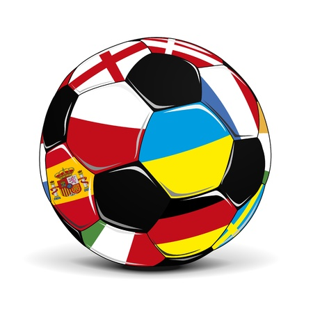 illustration of a soccer ball with flags, eps 8 vector Vector