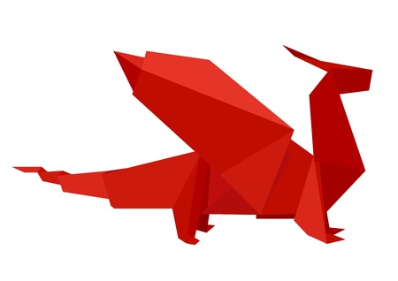 illustration of a red origami dragon figure, eps8 vector Vector