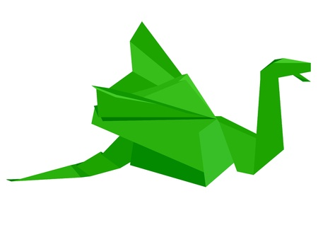 illustration of a green origami dragon figure, eps8 vector Vector