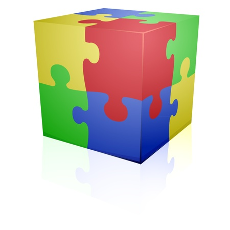 teaser: detailed illustration of colorful a jigsaw puzzle cube, eps8 vector