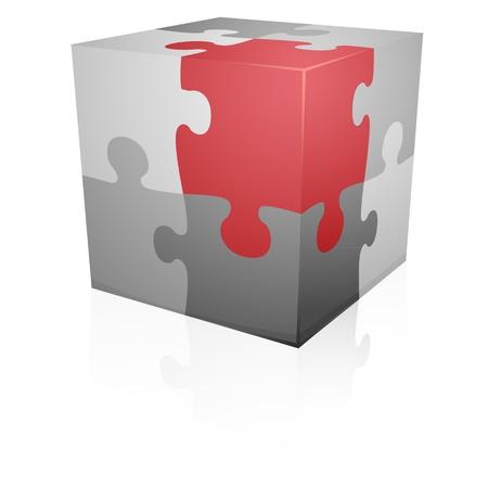 red cube: dettagliata illustrazione di un cubo puzzle, eps8 vettore