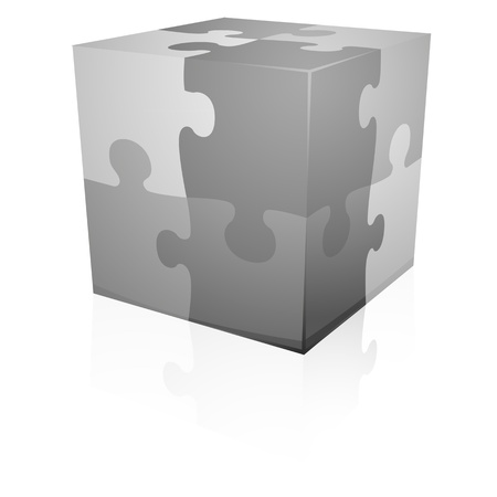 detailed illustration of grey jigsaw puzzle cube, eps8 vector Vector