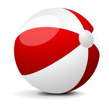 ball: Ilustraci�n de un color rojo y blanco pelota de playa, eps 8 vector Vectores