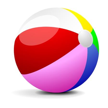 inflar: Ilustraci�n de una pelota de playa llena de color, eps 8 vector Vectores