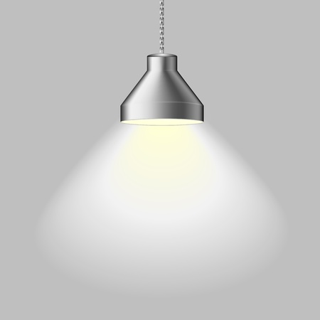 light room: illustration of an illuminated ceiling lamp, eps 8 vector