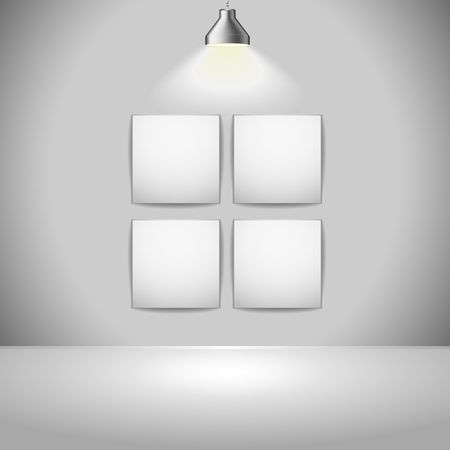 illustration of exhition frames with light source from above, eps 8 vector Vector