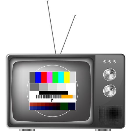 old fashioned tv: detailed illustration of an old television with antenna and test image, eps8 vector