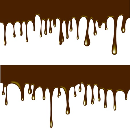 illustration of flowing chocolate drops on white background