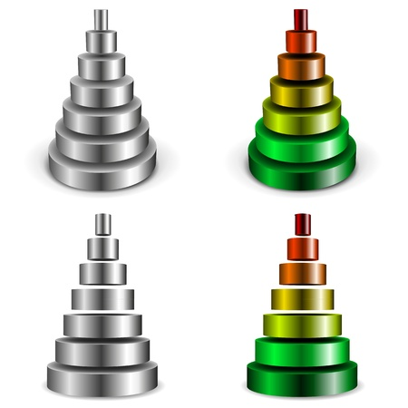 illustration of different sliced metallic cylinder pyramids Vector