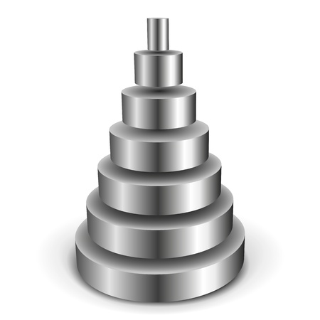 illustration of a sliced metallic cylinder pyramid Vector