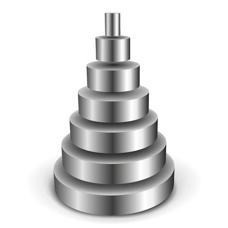 illustration of a sliced metallic cylinder pyramid Stock Vector - 12163562